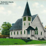 Color Postcard of Methodist Church, Maple St., Stamford late 1800s to WW1